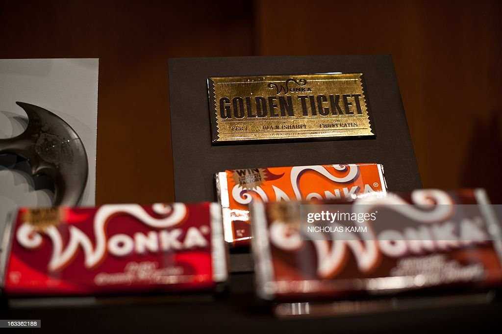 Items from the 2005 film Charlie and the Chocolate Factory by Warner Bros., are seen during a ceremony at the National Museum of American History as Warner Bros. donates memorabilia to the museum on March 8, 2013. More than 30 objects from 13 Warner Bros. films spanning 1942 to 2005 will be added to the National Museum of American History's entertainment collections, including Halle Berry's costume from the 2004 film Catwoman, props from the 2005 film Charlie and the Chocolate Factory and a selection of stop-action puppets used by director Tim Burton for the 2005 film Corpse Bride. AFP PHOTO/Nicholas KAMM