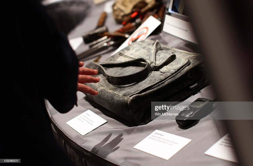Items, including an attache case, that were recovered from the site of the World Trade Center are displayed alongside other artifacts from the September 11, 2001 attacks as part of an exhibit at the Smithsonian National Museum of American History September 1, 2011 in Washington, DC. For nine days leading up to the 10th anniversary of the terrorist attacks, the Museum will display more than 50 objects from the World Trade Center, Pentagon and Shanksville, Pennsylvania, in an exhibit titled, 'September 11: Remembrance and Reflection.'