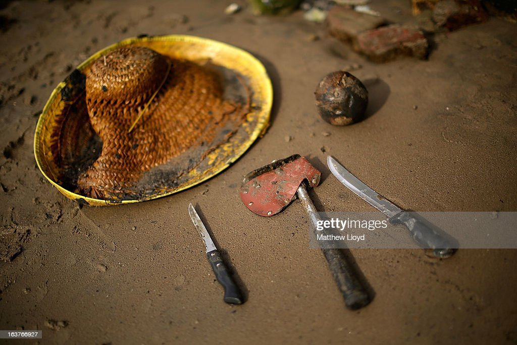 Items recovered from the banks of the River Thames on the Isle of Dogs include a sombrero, coconut, axe and knives on March 15, 2013 in London, England. The Thames21 charity leads volunteers in deep cleans of some of the Thames' most polluted and littered areas, using the annual low tides to reach areas normally impossible to access.