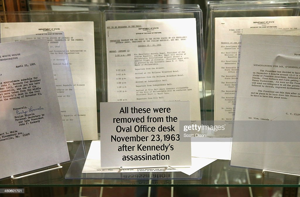 Items removed from President John F. Kennedy's desk the day after he was assassinated in Dallas is displayed at the Historic Auto Attractions museum on November 19, 2013 in Roscoe, Illinois. The museum has a large collection of items from Kennedy's life and death on display. It will be fifty years since John F. Kennedy was assassinated on November 22, 1963.