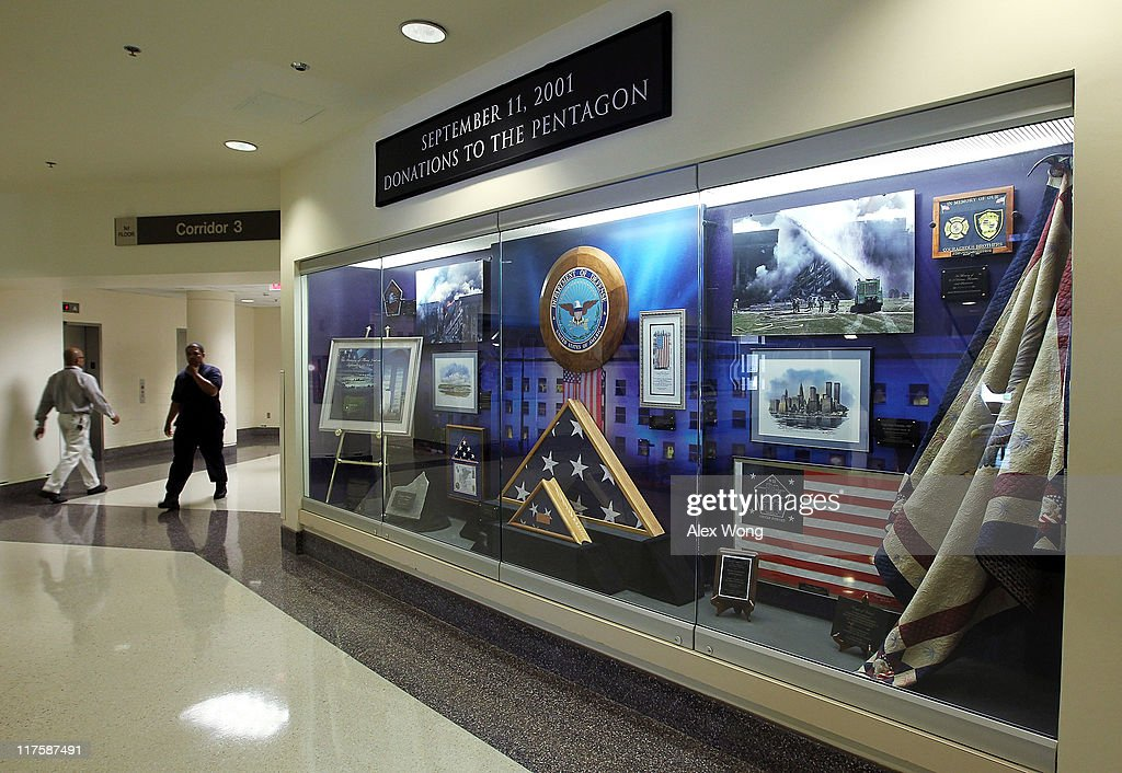 Items that were associated with 9/11 attacks are displayed in a showcase at the Pentagon June 28, 2011 in Arlington, Virginia. This year is the 10th anniversary of the September 11 terrorist attacks, in which 184 people were killed at the Pentagon.
