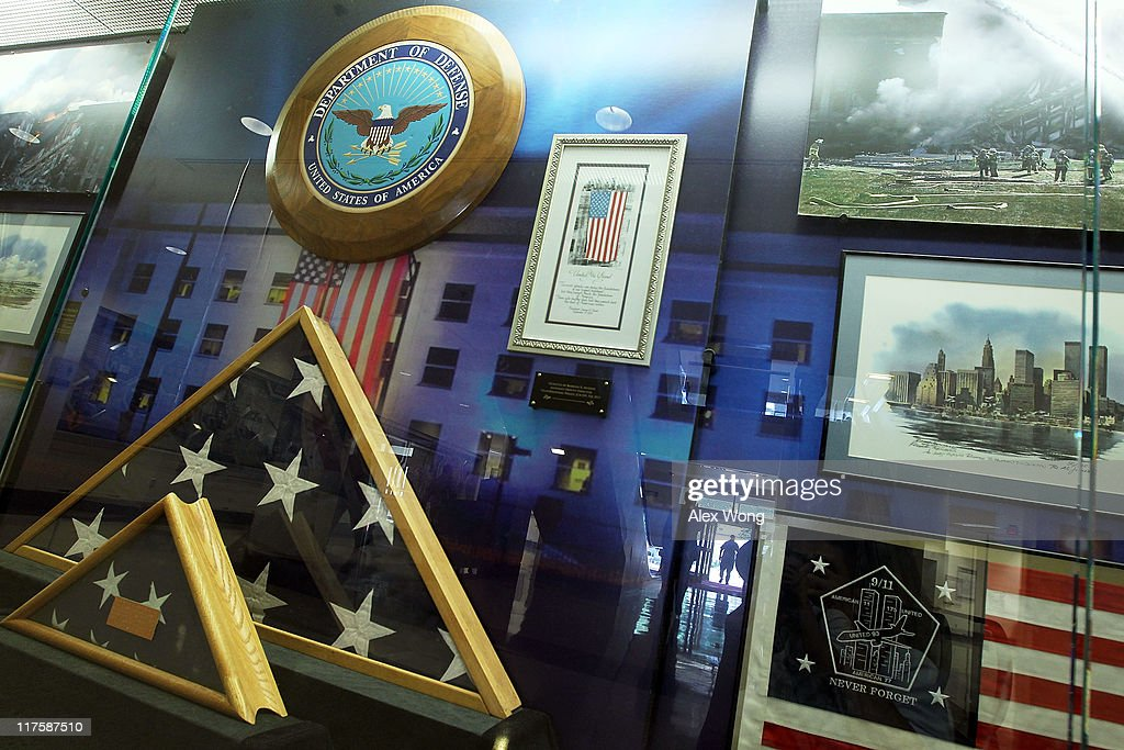 Items that were associated with 9/11 attacks are on display in a showcase at the Pentagon June 28, 2011 in Arlington, Virginia. This year is the 10th anniversary of the September 11 terrorist attacks, in which 184 people were killed at the Pentagon.