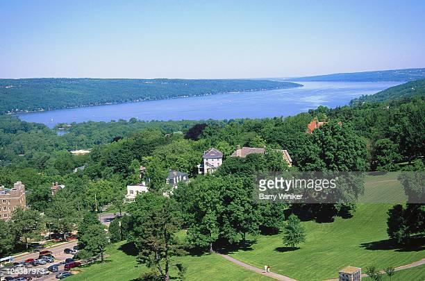 Ithaca, NY, Aerial view of Lake Cayuga