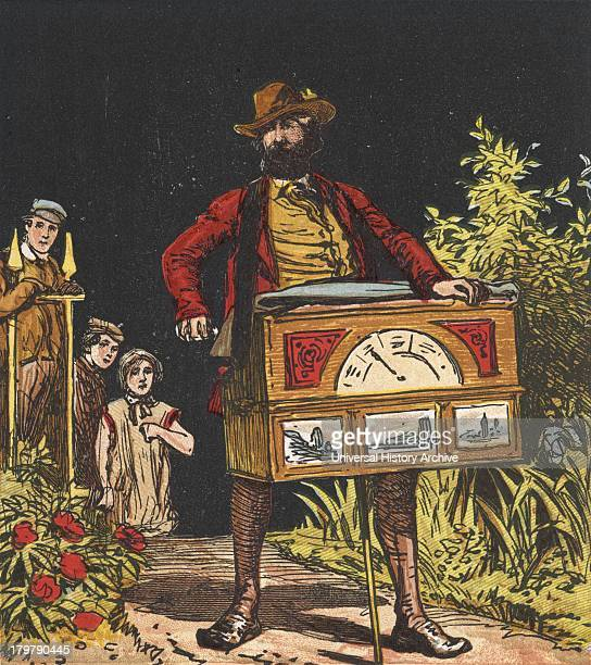Itinerant organ grinder Chromolithograph c1867