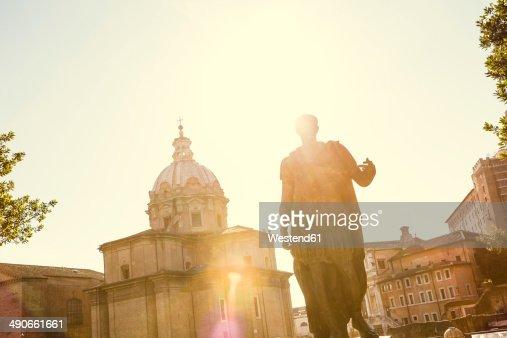 Itlay, Rome, statue of Julius Caesar at back light