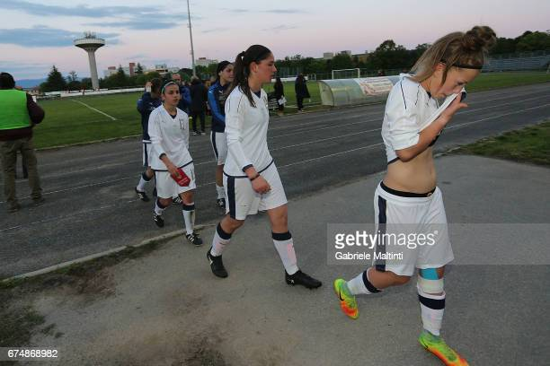 Itlay U16 players show their dejection during the 2nd Female Tournament 'Delle Nazioni' final match between Italy U16 and USA U16 on April 29 2017 in...
