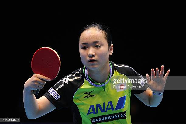 Ito Mima of Japan compete against Zhu Yuling of China during Women's singles quarterfinal match at the 22nd 2015 ITTF Asian Table Tennis...