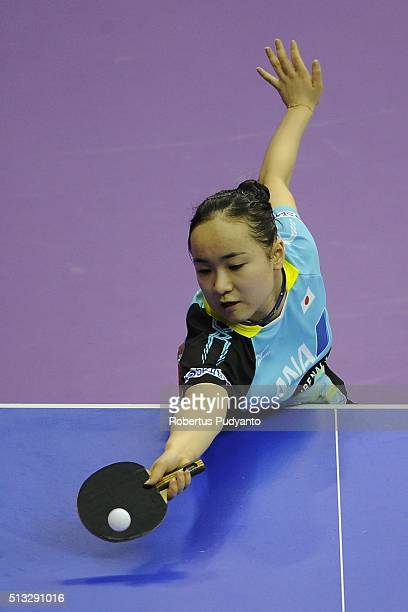 Ito Mima of Japan competes against Sabine Winter of Germany during the 2016 World Table Tennis Championship Women's Team Division Round 5 match at...