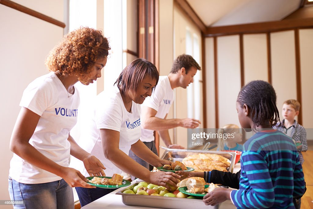 It's a joy to see them fed : Stock Photo