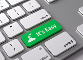 A keyboard with a green button It's easy