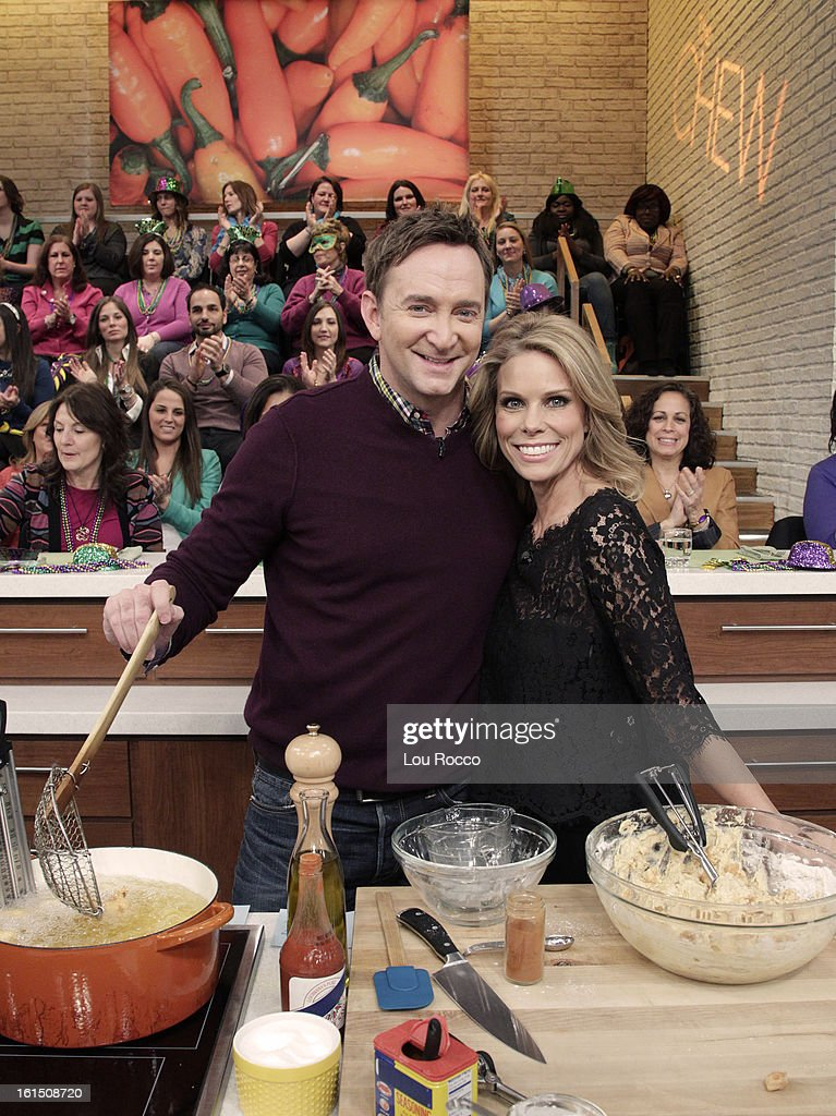 THE CHEW It's Fat Tuesday and Cheryl Hines joins cohost Clinton Kelly to make Gulf Shrimp Fritters with Remoulade and a Soda Stinger Inferno cocktail...