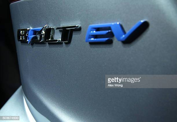 Its name is seen on body of the new Chevy Bolt EV an electric car with a battery range of 200 miles priced at $30 and will be in production this year...