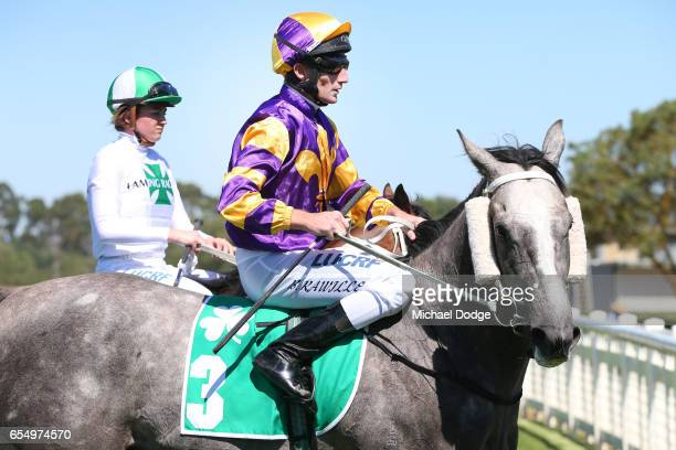 It's Pa ridden by Brad Rawiller returns to scale after winning the Robert Rose Plate at Yarra Valley Racecourse on March 19 2017 in Yarra Glen...
