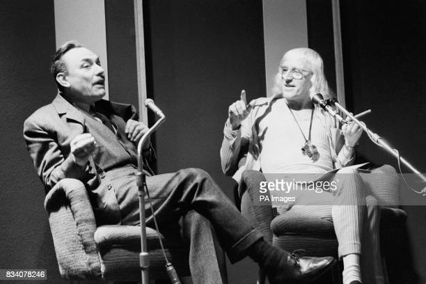 'Its your turn to speak out again ' says Jimmy Savile disc jockey and TV personality as he points his finger to outspoken MP Enoch Powell as they...