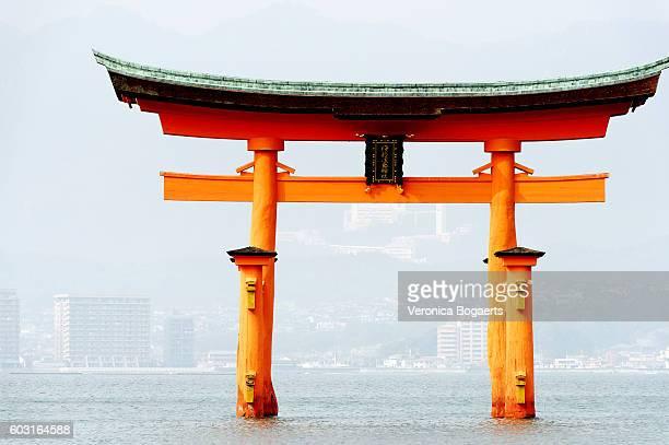 Itsukushima Shrine Torii Gate at high tide,Japan