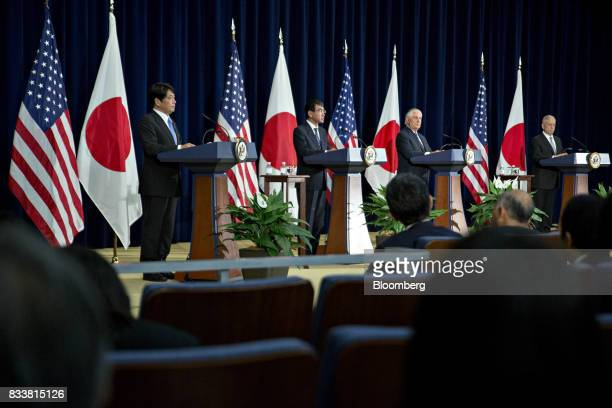 Itsunori Onodera Japan's defense minister from left Taro Kono Japan's foreign minister Rex Tillerson US secretary of State and James Mattis US...