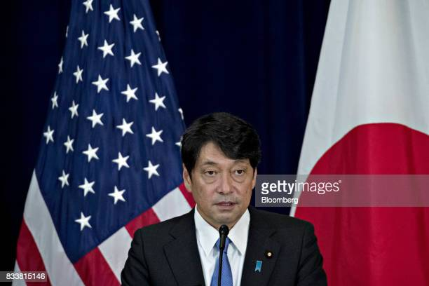 Itsunori Onodera Japan's defense minister speaks at a news conference during the Security Consultative Committee meeting at the State Department in...