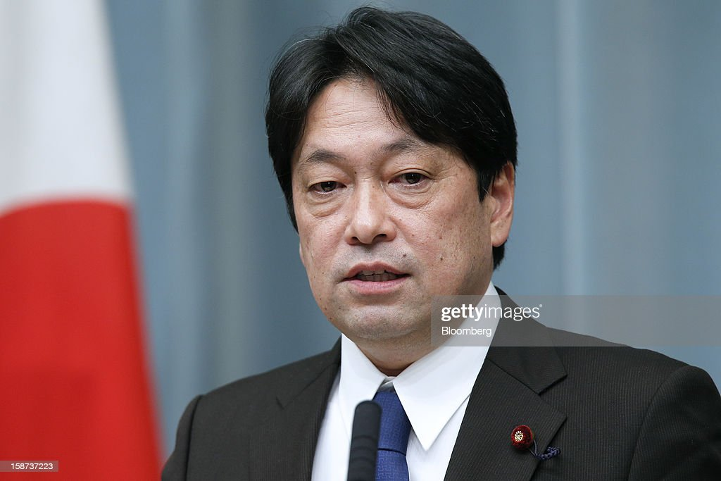 Itsunori Onodera, Japan's newly appointed defense minister, speaks during a news conference at the prime minister's official residence in Tokyo, Japan, on Thursday, Dec. 27, 2012. Japan's parliament confirmed Shinzo Abe as the nation's seventh prime minister in six years, returning him to the office he left in 2007 after his party regained power in a landslide election victory last week. Photographer: Kiyoshi Ota/Bloomberg via Getty Images