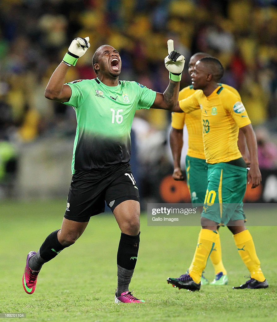 AFRICA - JANUARY 27, Itumeleng Isaack Khune of South Africa celebrates the equalizer during the 2013 Orange African Cup of Nations match between South Africa and Morocco from Moses Mabhida Stadium on January 27, 2013 in Durban, South Africa.