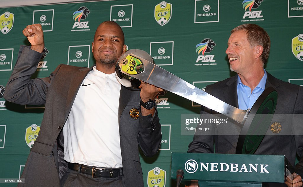 Itumeleng Khune and Stuart Baxter during the Nedbank Cup semi final press conference with United FC and Kaizer Chiefs from PSL Headquarters on May 02, 2013 in Johannesburg, South Africa.