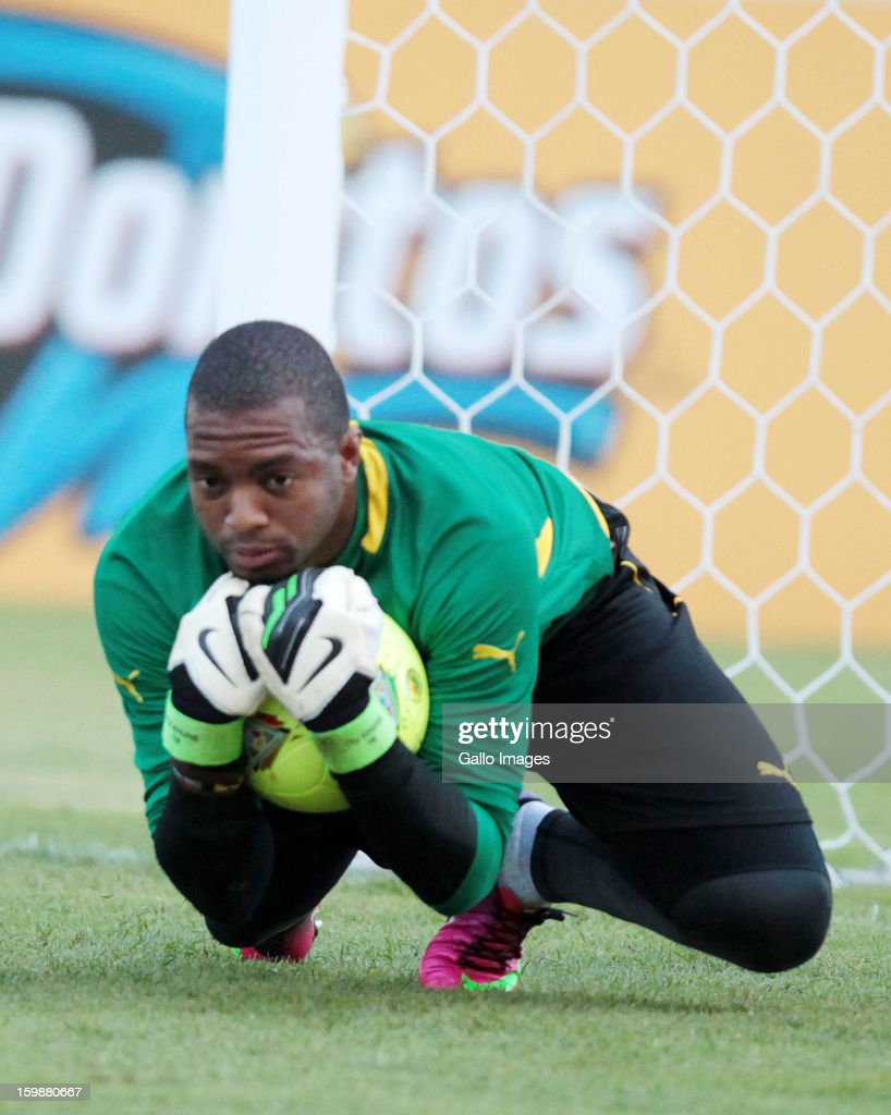 Itumeleng Khune during the South African national soccer team training session at Moses Mabhida Stadium on January 22, 2013 in Durban, South Africa.