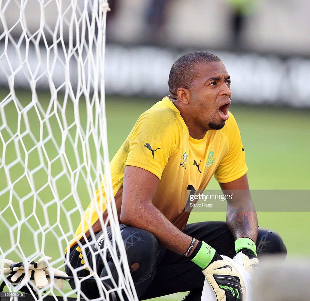 Itumeleng Khune G/K during the 2013 African Cup of Nations match between South Africa and Angola at Moses Mahbida Stadium on January 23, 2013 in Durban, South Africa.