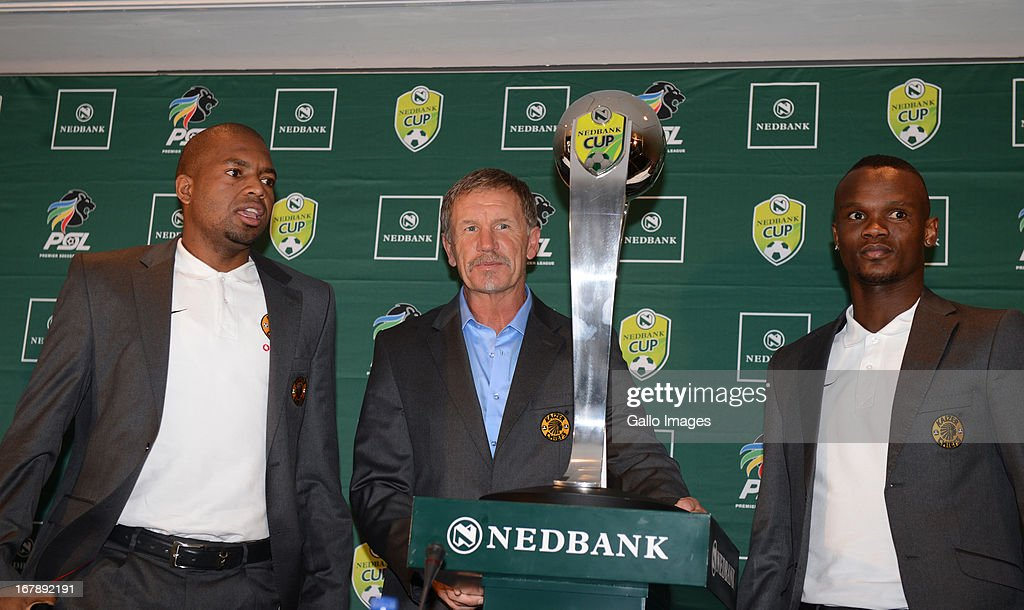 Itumeleng Khune ,Stuart Baxter and Siboniso Gaxa during the Nedbank Cup semi final press conference with United FC and Kaizer Chiefs from PSL Headquarters on May 02, 2013 in Johannesburg, South Africa.