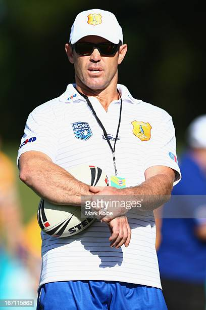 ity coach Brad Fittler watches on during warmup before the Origin match between City and Country at BCU International Stadium on April 21 2013 in...