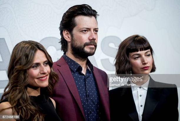 Itziar Ituno Alvaro Morte and Ursula Corbero attends 'La Casa de Papel' Madrid Premiere on April 24 2017 in Madrid Spain