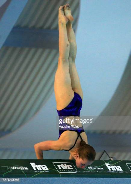 Iuliia Timoshinina of Russia competes in the Women's 10m Semifinal B during the 2017 FINA Diving World Series at the Windsor International Aquatic...