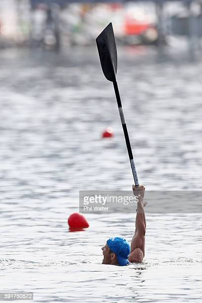 Iurii Cheban of Ukraine celebrates after winning gold in the Men's Canoe Single 200m Final at the Lagoa Stadium on Day 13 of the 2016 Rio Olympic...
