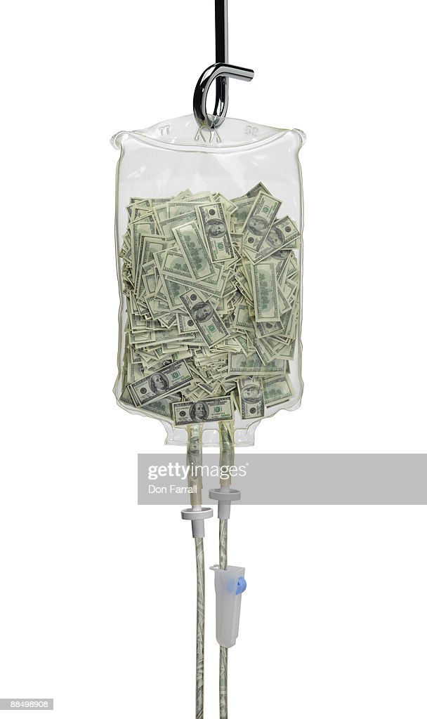 iv bag full of money