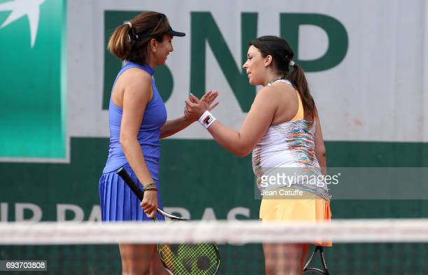 Iva Majoli of Croatia and Marion Bartoli of France participate at the Tournoi des Legendes on day 11 of the 2017 French Open second Grand Slam of the...