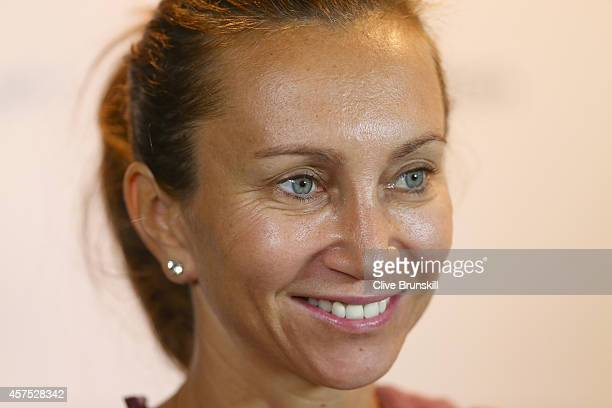 Iva Majoli of Croatia is interviewed during a press conference for the WTA Legends event prior to the start of the BNP Paribas WTA Finals at...