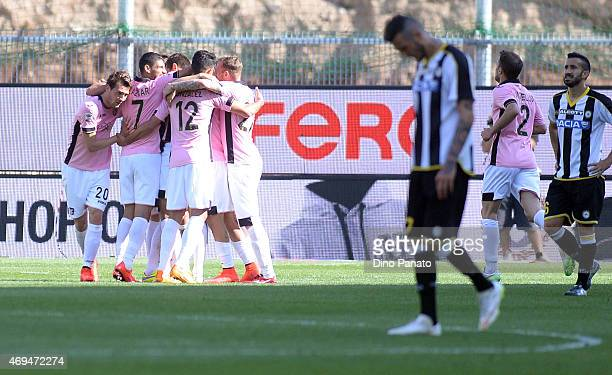Ivajlo Chocev of US Citta di Palermo is congratulated by team mates after scoring his team's third goal of the gameduring the Serie A match between...