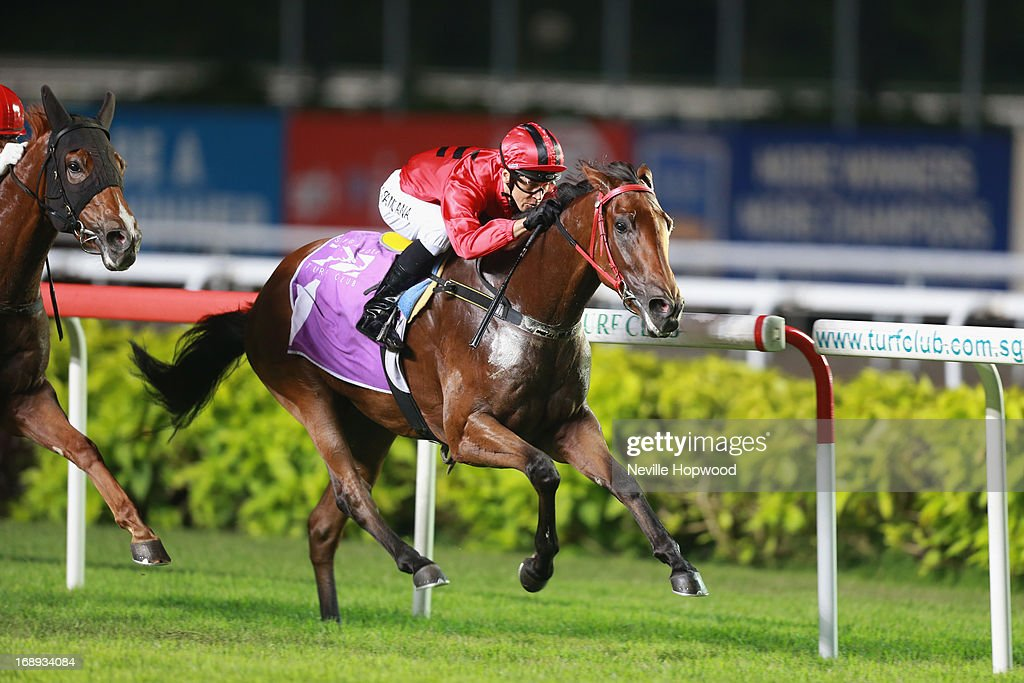 Ivaldo Santana riding Stepitup win the Group 1 Singapore Guineas during Singapore racing at Kranji on May 17, 2013 in Singapore.