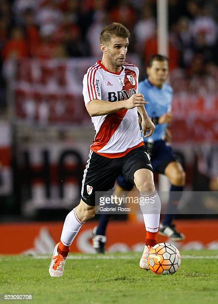 Ivan Alonso of River Plate drives the ball during a match between River Plate and Trujillanos as part of Copa Bridgestone Libertadores 2016 at...