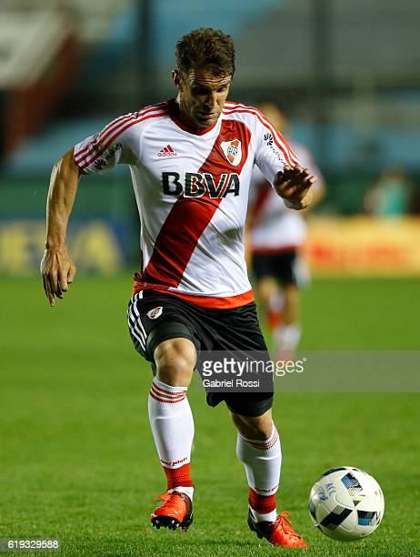 Ivan Alonso of River Plate drives the ball during a match between River Plate and Arsenal FC as part of eigth round of Torneo Primera Division...