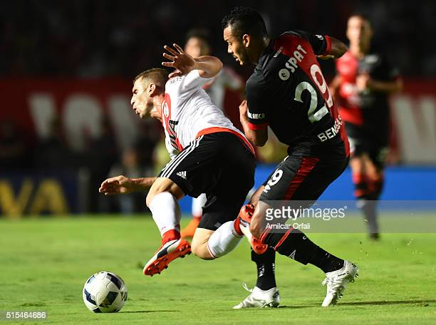 Ivan Alonso of River Plate is fouled by Ismael Benegas of Colon during a match between Colon and River Plate as part of Torneo de Transicion 2016 at...