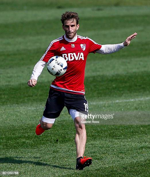 Ivan Alonso of River Plate kicks the ball during a training session at River Plate's training camp on September 09 2016 in Ezeiza Argentina