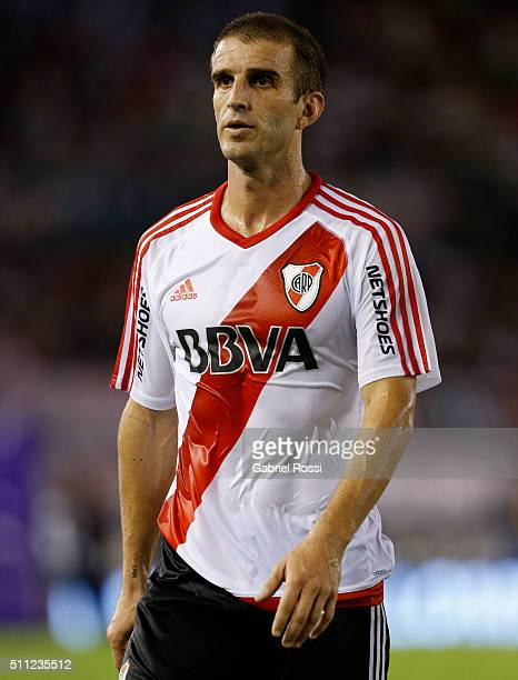 Ivan Alonso of River Plate leaves the field during a match between River Plate and Godoy Cruz as part of third round of Torneo Transicion 2016 at...