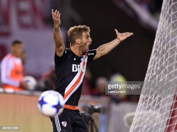 Ivan Alonso of River Plate reacts during a match between River Plate and Union as part of Torneo Primera Division 2016/17 at Monumental Stadium on...