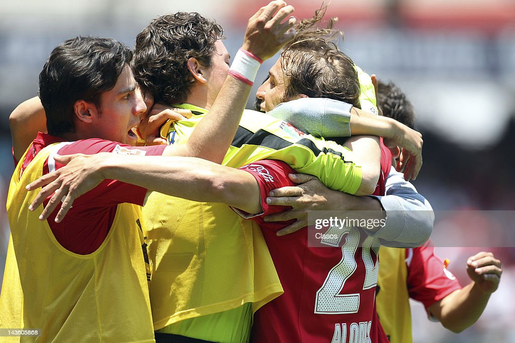 Ivan Alonso of Toluca celebrates a goal during a match between Toluca v San Luis as part of the Torneo Clausura at Nemesio Diez Stadium on April 29...