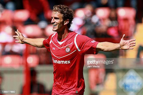 Ivan Alonso of Toluca celebrates a scored goal during a match against Estudiantes as part of the Clausura at Nemesio Diez Stadium on January 08 2012...