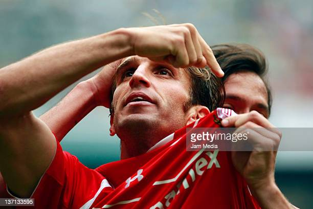 Ivan Alonso of Toluca celebrates his scoring goal against America during a match as part of the Clausura 2012 at Azteca Stadium on January 15 2012 in...