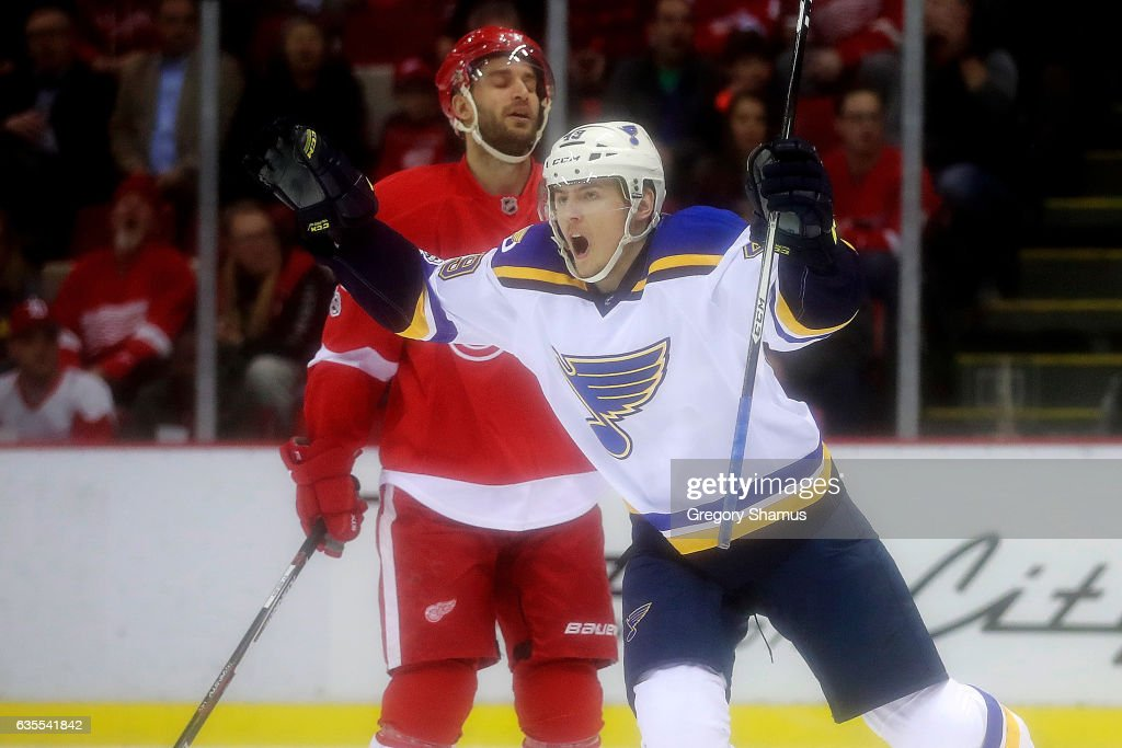 Ivan Barbashev #49 of the St. Louis Blues celebrates a first period goal in front of Frans Nielsen #51 of the Detroit Red Wings at Joe Louis Arena on February 15, 2017 in Detroit, Michigan.