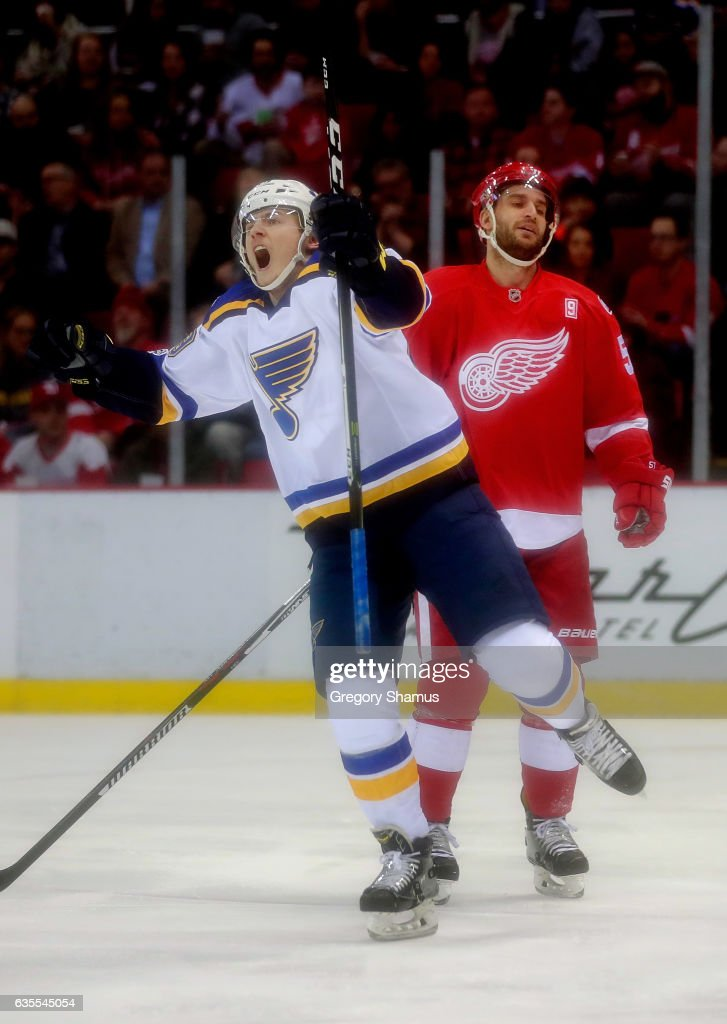 Ivan Barbashev #49 of the St. Louis Blues celebrates a first-period goal in front of Frans Nielsen #51 of the Detroit Red Wings at Joe Louis Arena on February 15, 2017 in Detroit, Michigan. St. Louis won the game 2-0.