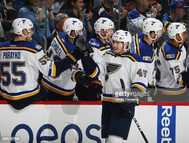 Ivan Barbashev of the St Louis Blues is congratulated by teammates after scoring during an NHL game against the Carolina Hurricanes on April 8 2017...