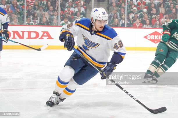 Ivan Barbashev of the St Louis Blues skates against the Minnesota Wild in Game One of the Western Conference First Round during the 2017 NHL Stanley...