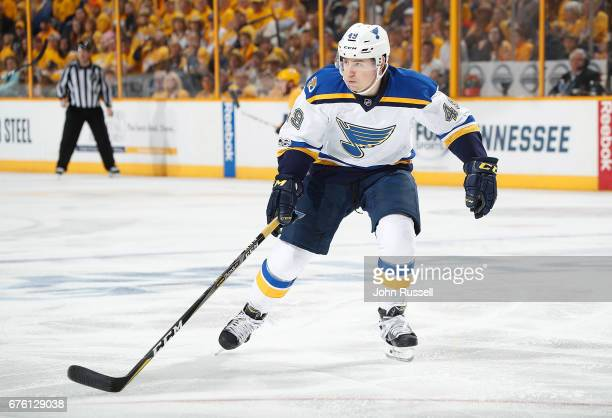 Ivan Barbashev of the St Louis Blues skates against the Nashville Predators in Game Three of the Western Conference Second Round during the 2017 NHL...